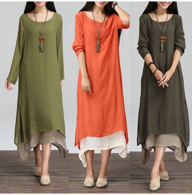 Womens Boho Loose Cotton Linen Maxi Dress Long Sleeve | RebelsMarket
