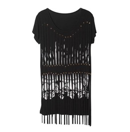 Long Stripey T Shirt With Skull Prints