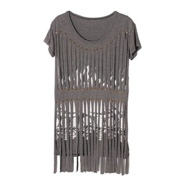 Grey Stripey T Shirt With Skull Prints Relaxed Fit