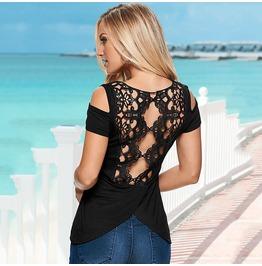 Summer Women Back Lace Crochet Off Shoulder Shirt Casual Blouse