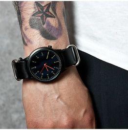 Black Dial With Orange Hands Modern Round Watch 38