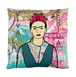 Funky Frida Kahlo On Pink Blue And Brown Art Background Cushion Cover