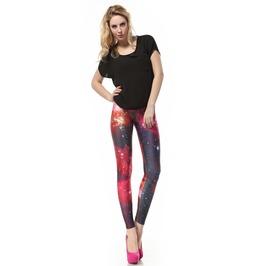 Red Space Galaxy Leggings Pants