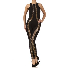 Gold Dots And Mesh Jumpsuit