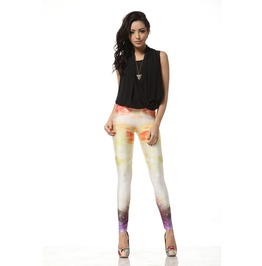 Fresh Color Cloud Print Leggings Pants
