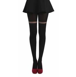 Pamela Mann Opaque Tights With Sheer Stripe