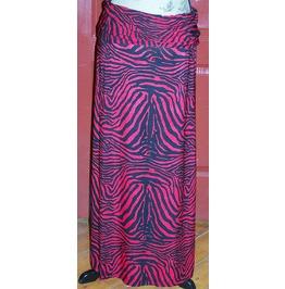 Red And Black Animal Print Maxi Skirt