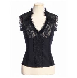 Women's Steampunk Lace Ruffles Tops Black B165