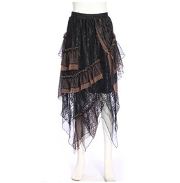 Women's Gothic Multilayer Lace Skirt Black B166