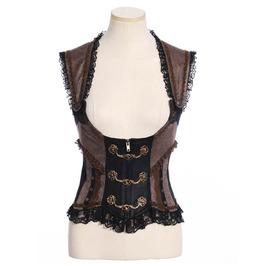 Women's Steampunk Metal Buckles Lace Ruffles Corset Tops B168