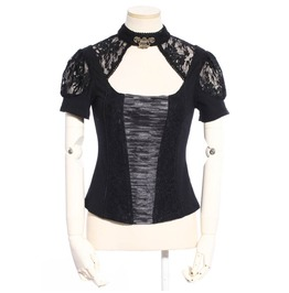 Women's Gothic Lace Ruffles Lace Up Tops Black B164