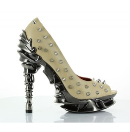 Hades Talon Peep Toe High Heel Stone Punk Rock Metal Spine Goth Spikes
