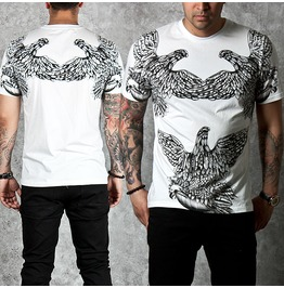 Beads Accent Eagle Printed Round T Shirts 526