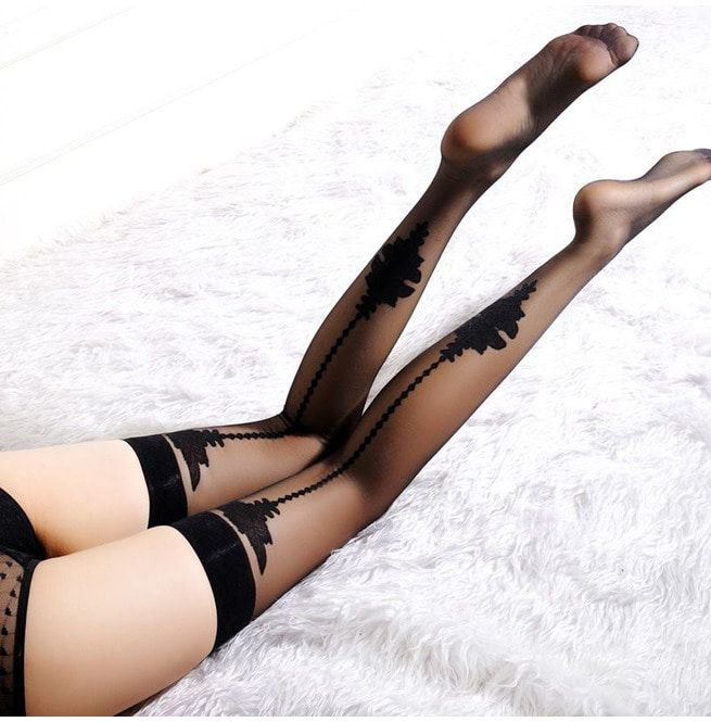 1497bb808 Women s Sheer Lace Top Thigh High Stockings Sexy