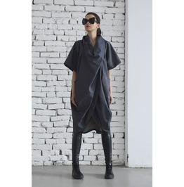Denim Top/ Draped Shirt/ Jean Blouse Pockets/ Asymmetrical Denim Tunic