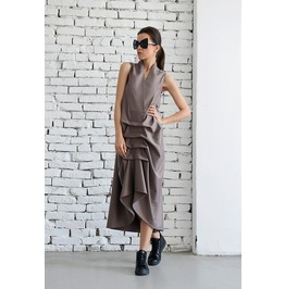 Maxi Dress / Loose Beige Dress/ Extravagant Sleeveless Dress/ Plus Size