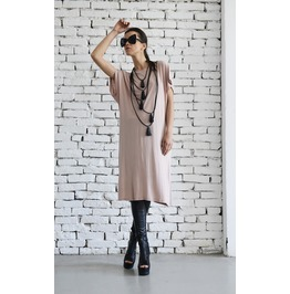 Long Beige Top/Loose Summer Tunic/Short Sexy Dress/Open Back Dress