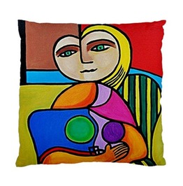 Picasso Style Lady Sitting On Striped Chair Double Sided Art Cushion Cover
