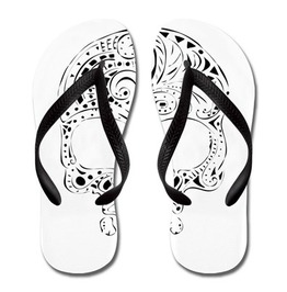 Tribal Tattoo Style Gothic Skull Women's Flip Flops