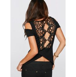 Womens cutout shoulders crochet backless t shirts t shirts