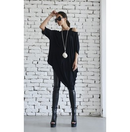Black Asymmetric Loose Tunic/Extravagant Maxi Blouse/Plus Size Casual Top