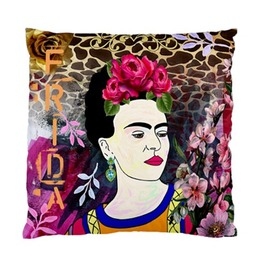 Funky Frida Kahlo Vintage Flowers & Giraffe Print Background Cushion Cover
