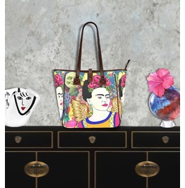 Frida Kahlo With Wings Smiling Moon Vintage Flower Background Tote Handbag