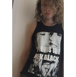 Porn Is The New Black Cocaine Dope All Black Print Tank Top