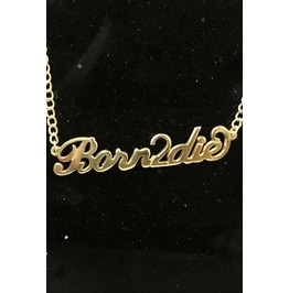 Born2 Die Gold Jewelry Slogan Letter 90s Grunge And Punk Necklace