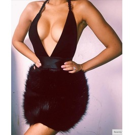 Deep V Neck Faux Fur Dress