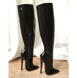 18cm Skinny/Standing Leg Only Stiletto Fetish Wet Shiny Patent Over Knee