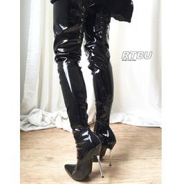 12cm Silver Metal Heel 70cm Crotch Length Show Boot Back Corset Patent Pvc