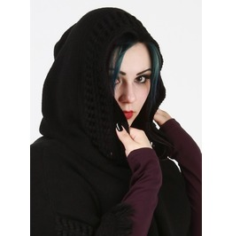 Black Knit Hooded Poncho