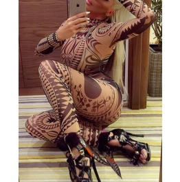 Mesh Tribal Design Jumpsuit