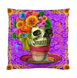 Skull In A Pink Tea Cup With Flowers Cushion Cover