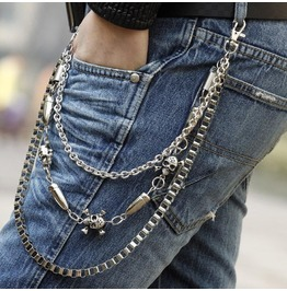 Men's Skull And Bullet Punk Pant Chain