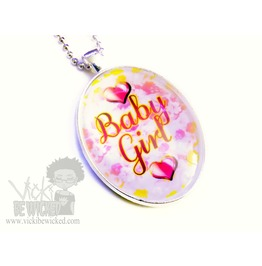 Sweet Baby Girl, Daddy's Little Girl, Glass Pendant Necklace