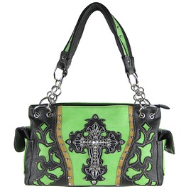Green Western Rhinestone Cross Look Shoulder Handbag