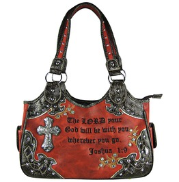 Red Studded Rhinestone Cross Bible Verse Shoulder Handbag