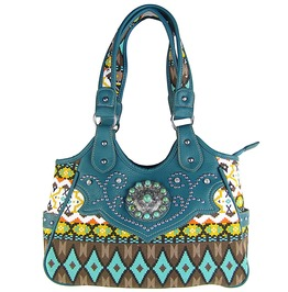 Urquoise Tribal Flower Look Shoulder Handbag