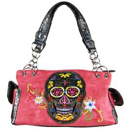 Hot Pink Sugar Skull Candy Flower Background Shoulder Handbag