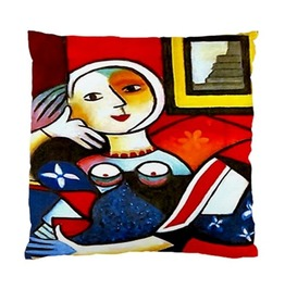 Picasso Style Woman Sitting On A Chair Art Cushion Cover