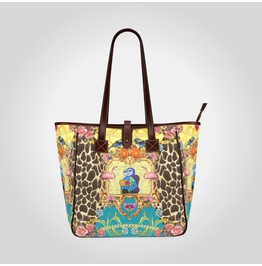 Funky Picasso Giraffe Print With Flowers & Flamingos Blue Art Tote Handbag