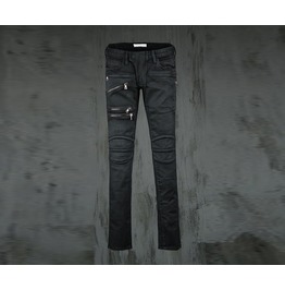 Men's Zipper Detail Slim Biker Pants