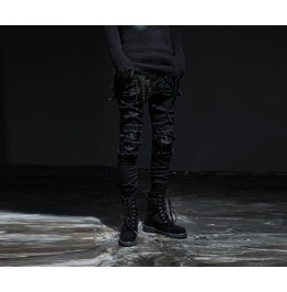 Mens Leather Patch Chic Jean Pants