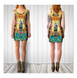 Funky Blue Picasso With Flowers Flamingos & Giraffe Print Bodycon Dress
