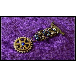 Blue Steampunk Chain Mail Medal