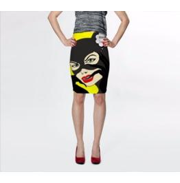 Catwoman Loves Batman Art Slip Skirt