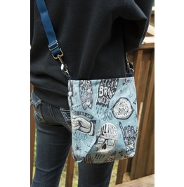 Blue Alexander Henry Style Skull Mini Messenger Bag