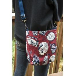 Red Alexander Henry Style Skull Mini Messenger Bag